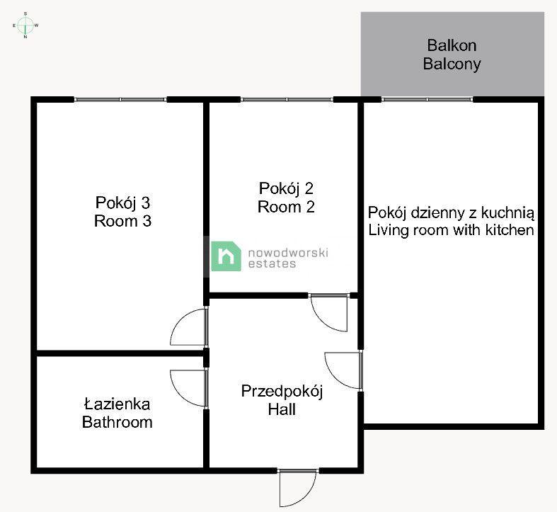 Mieszkanie do wynajęcia Wrocław, Psie Pole ul. Pakosławska 3 pokojowe mieszkanie - spokojne osiedle, blisko C.H. Marino  floorplan