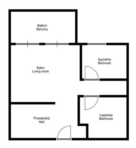 Apartment to Rent Wrocław, Śródmieście / Ołbin Stefana Żeromskiego St. Dwupokojowe mieszkanie na wynajem/Żeromskiego floorplan