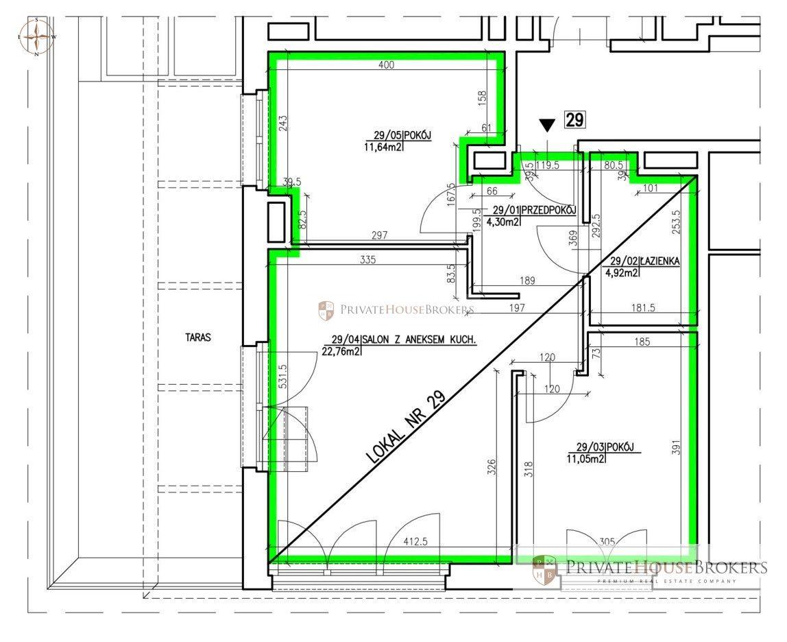 3 pokoje w wysokim standardzie w Kamienicach Wandy