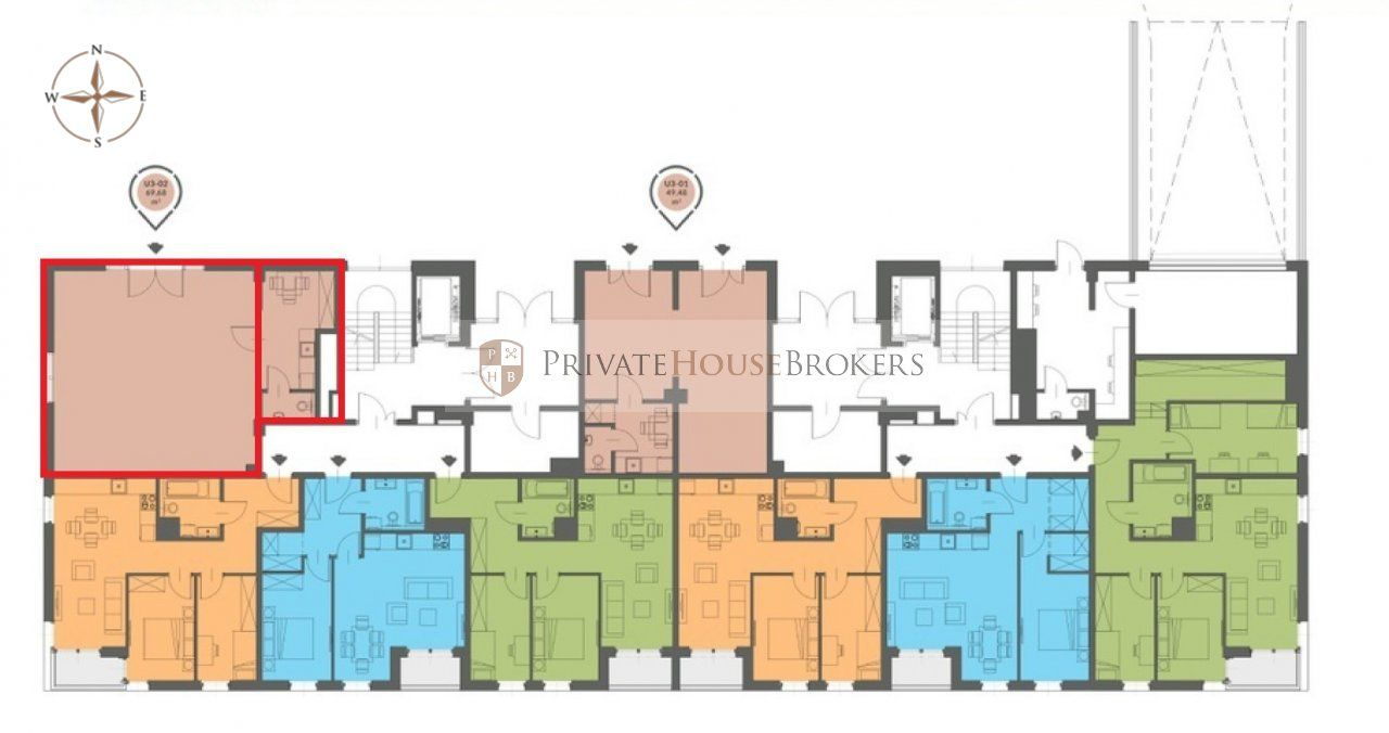 Ground-floor commercial and service space of 70 m2 - large, multistage housing estate