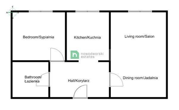 Apartment to Rent Kraków, Śródmieście / Prądnik Czerwony Dobrego Pasterza St. Two-room freshly finished apartment - Dobrego Pasterza Street floorplan