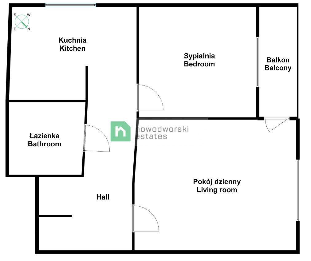Mieszkanie na sprzedaż Wrocław, Krzyki al. gen. Józefa Hallera Krzyki - Powstańców Śląskich | 54 m2 po remoncie floorplan