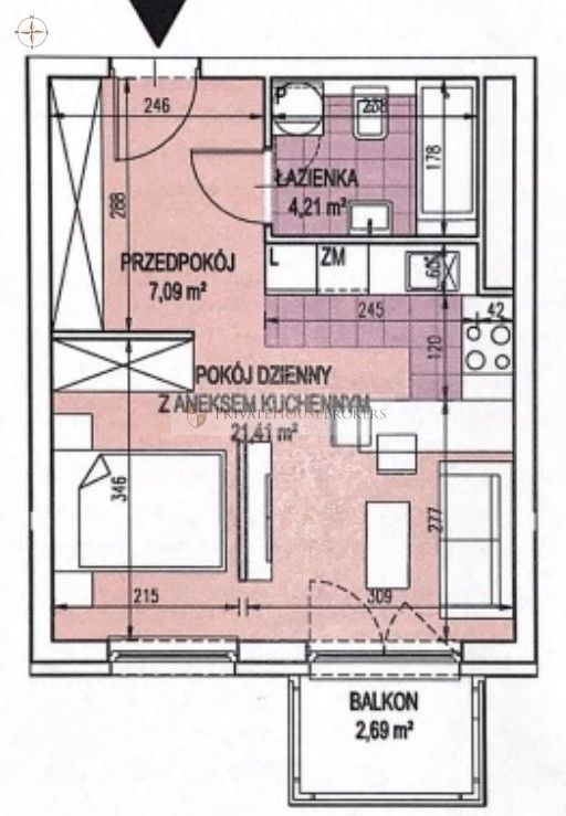 Funkcjonalne 2 pokojowe mieszkanie przy Bonarce!