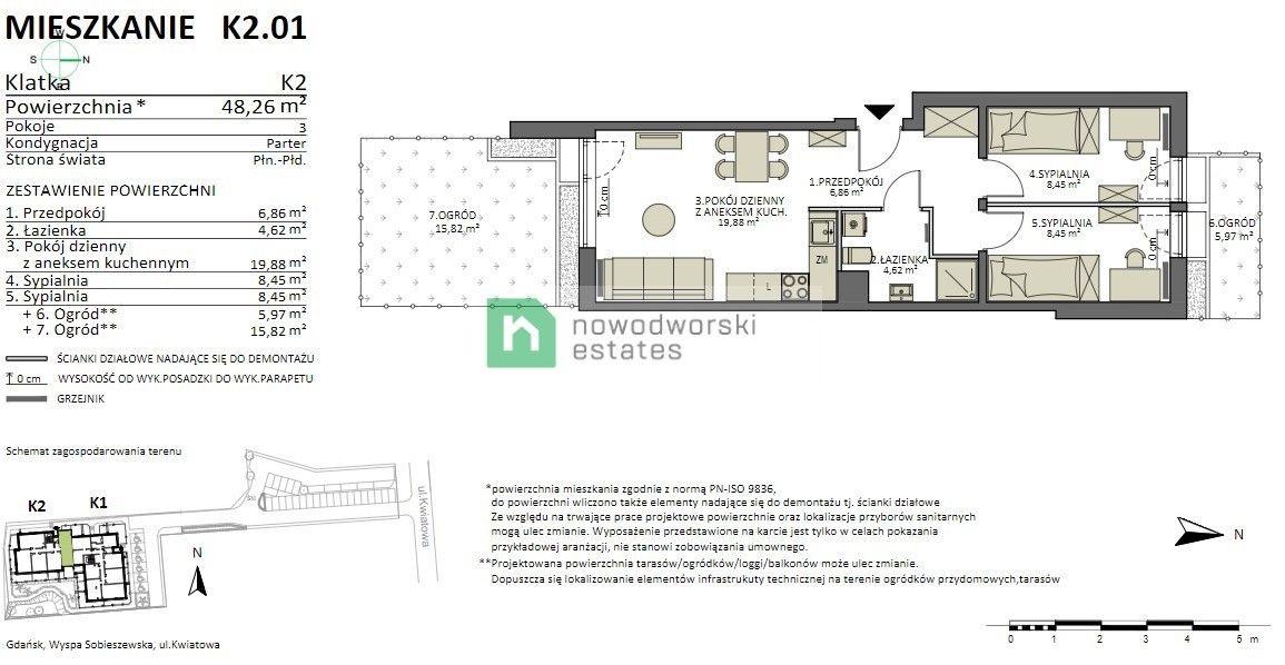 Mieszkanie na sprzedaż Gdańsk, Sobieszewo ul. Kwiatowa Lazur Park, 3 pok. Apartament 2 ogrody, Sobieszewo floorplan