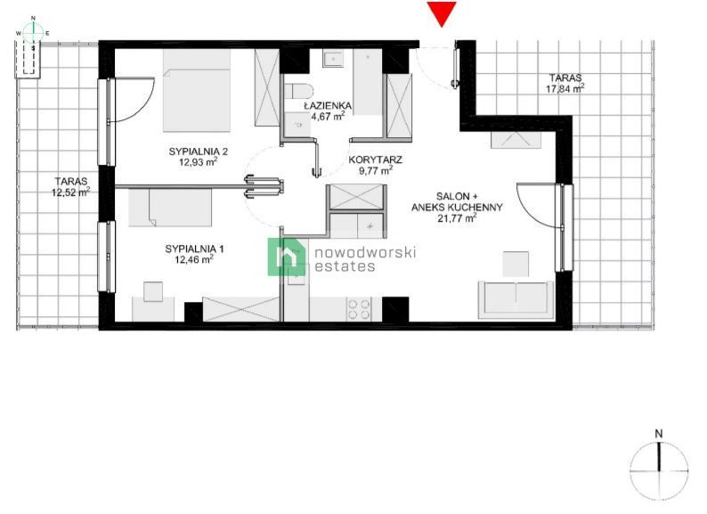 Apartment for Sale Wrocław, Krzyki Klasztorna St. 3 room apartment on the 4th floor with 2 terraces! floorplan