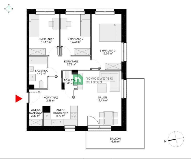 Mieszkanie na sprzedaż Wrocław, Krzyki ul. Klasztorna 4 pokojowe mieszkanie z dużym balkonem  floorplan