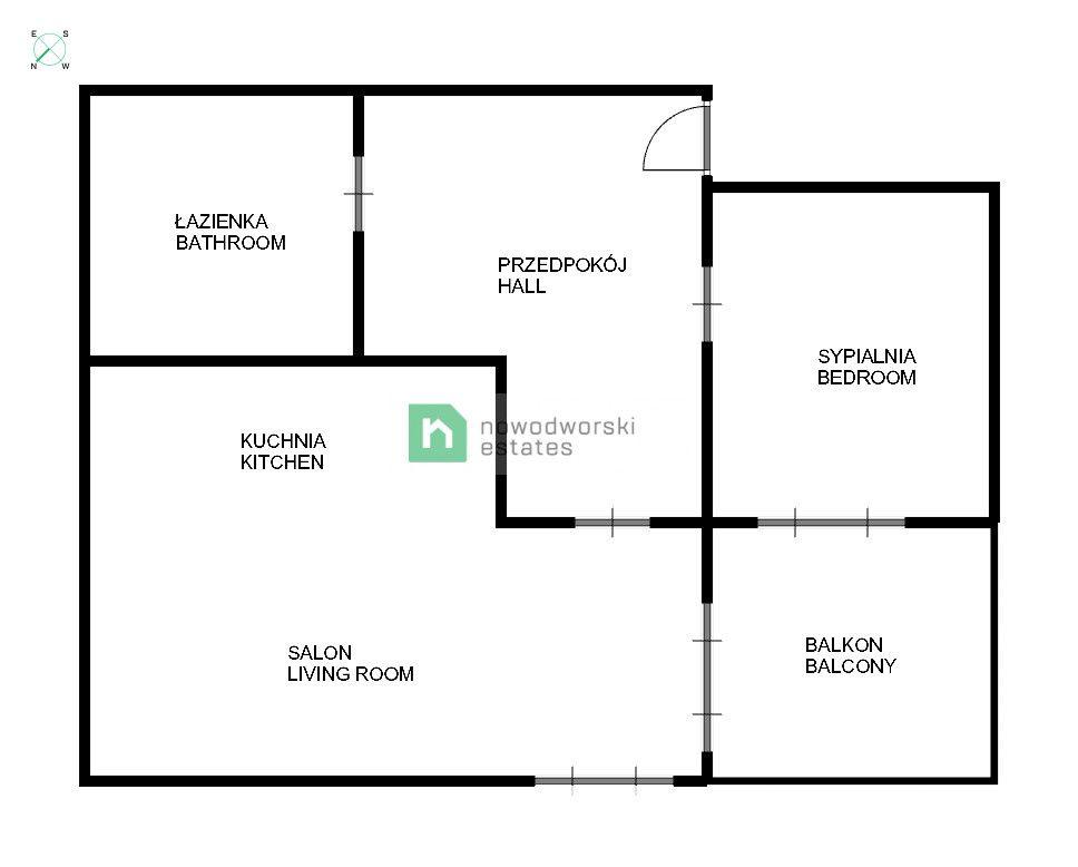 Mieszkanie do wynajęcia Wrocław, Krzyki ul. gen. Karola Kniaziewicza  2-pokojowe mieszkanie w centrum miasta  floorplan
