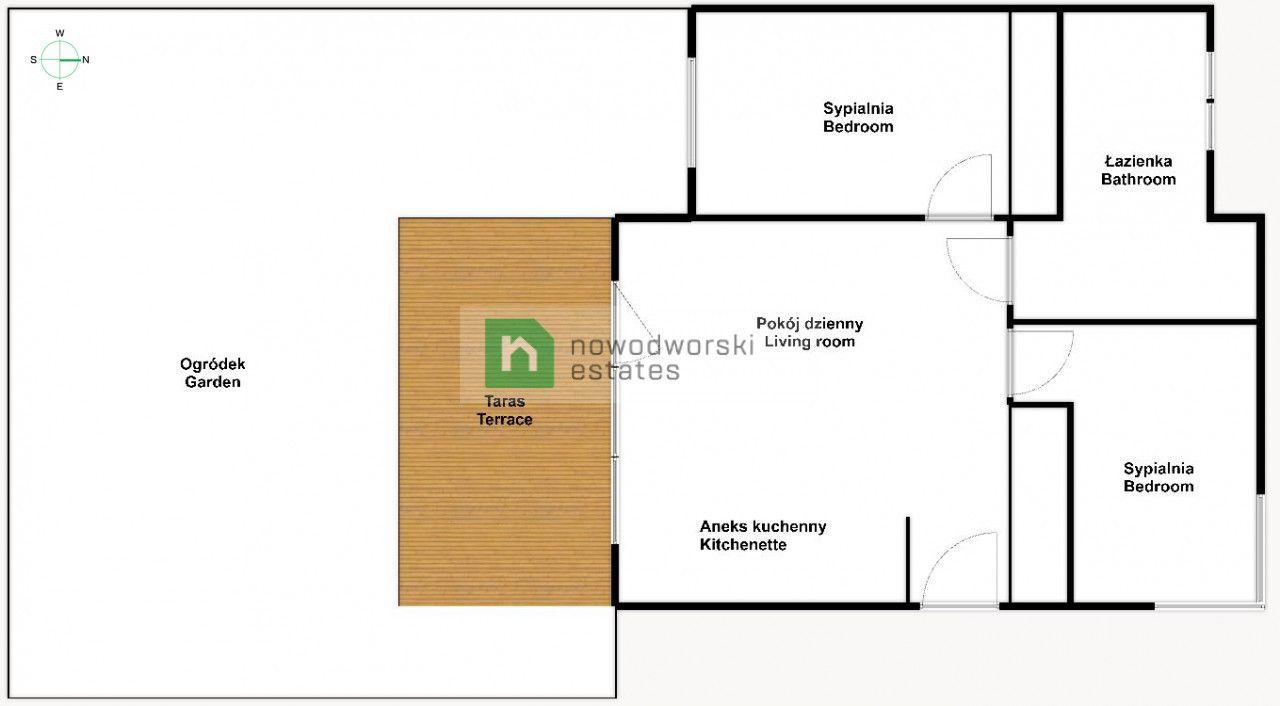 Apartment for Sale Wrocławski, Kobierzyce / Bielany Wrocławskie Polarna St. 3-pokojowe mieszkanie z ogródkiem + parking floorplan