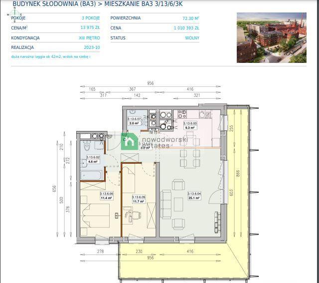 Mieszkanie na sprzedaż Wrocław, Śródmieście / Ołbin ul. Jedności Narodowej Na sprzedaż 3-pokojowy apartament z loggią 42 m² 1 010 393 PLN  floorplan