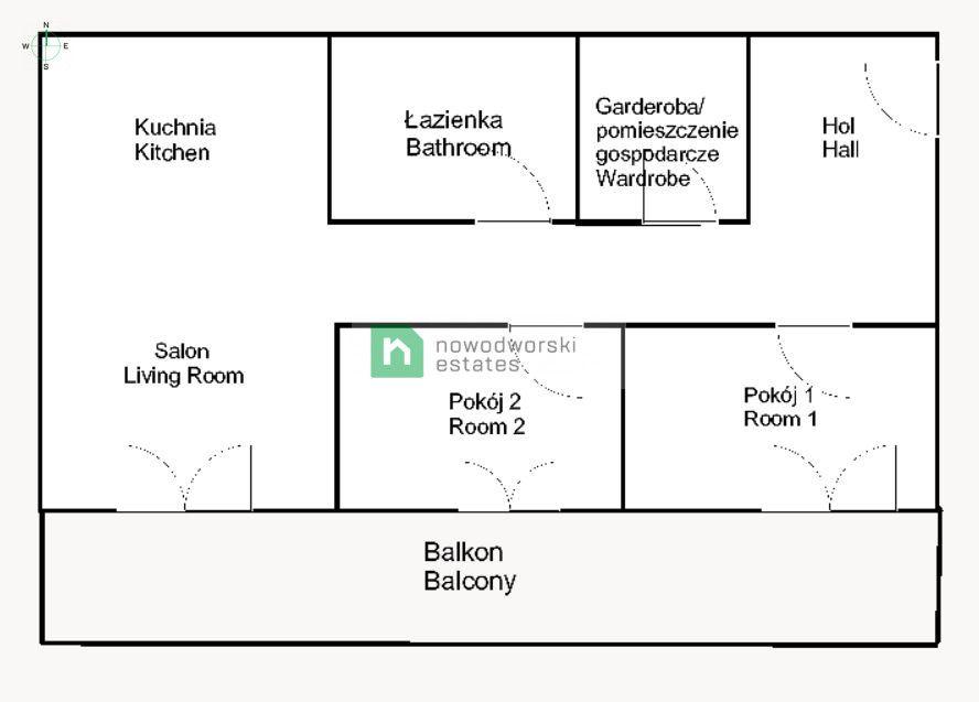 Mieszkanie do wynajęcia Wrocław, Fabryczna / Grabiszyn ul. Mosiężna Przestronne 3 pokojowe mieszkanie z aneksem, świetna lokalizacja floorplan
