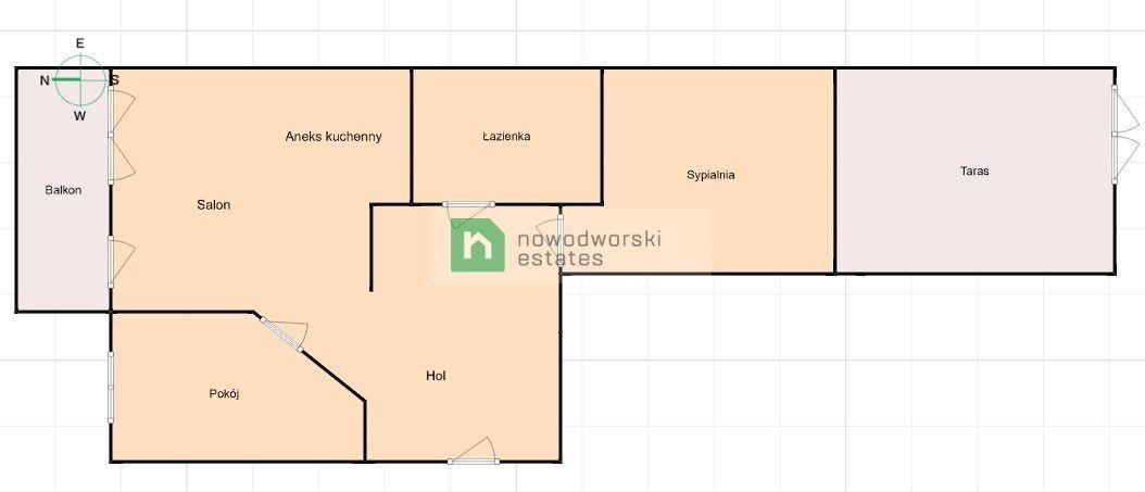 Mieszkanie do wynajęcia Wrocław, Krzyki ul. Klasztorna  3-pokojowe mieszkanie z balkonem i tarasem - Krzyki  floorplan