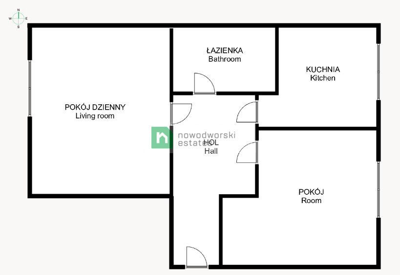 Apartment to Rent Kraków, Śródmieście Lotnicza St.  2-room apartment for rent with a separate kitchen  floorplan