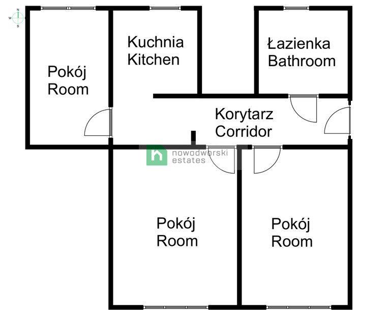 Mieszkanie do wynajęcia Kraków, Krowodrza ul. Wrocławska Dzielnica Krowodrza  ul. Wrocławska 61- m2, 3 osobne pokoje, osobna kuchnia floorplan